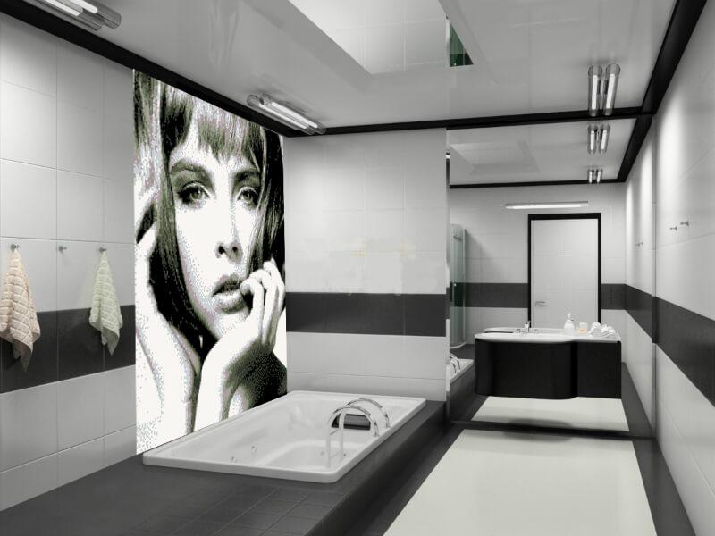 черно-белая плитка в ванной фото